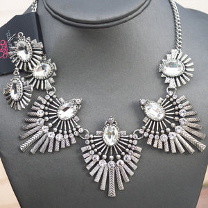 Crystal Silver Bollywood Necklace Earrings set